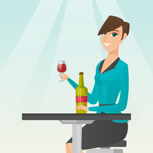 Woman sitting at the table with a glass and a bottle of wine. Caucasian woman drinking wine in the restaurant. Woman enjoying a drink at the wine bar. Vector flat design illustration. Square layout.