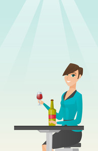 Woman sitting at the table with a glass and a bottle of wine. Caucasian woman drinking wine in the restaurant. Woman enjoying a drink at the wine bar. Vector flat design illustration. Vertical layout.
