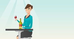 Woman sitting at the table with a glass and a bottle of wine. Young woman drinking wine in the restaurant. Woman enjoying a drink at the wine bar. Vector flat design illustration. Horizontal layout.