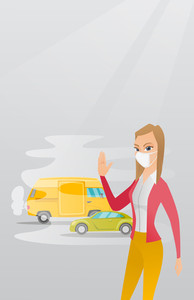 Woman standing on the background of car with traffic fumes. Woman wearing mask to reduce the effect of traffic pollution. Concept of toxic air pollution. Vector flat design illustration. Square layout