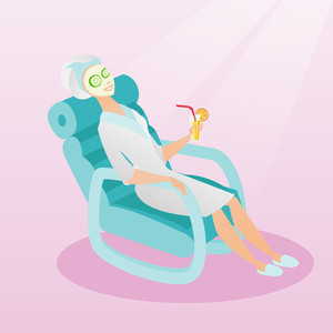 Woman with face mask and towel on her head lying in chaise lounge and drinking cocktail. Woman relaxing in beauty salon. Girl having beauty treatments. Vector flat design illustration. Square layout.
