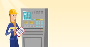 Woman working on control panel. Worker in hard hat pressing button at control panel. Engineer with clipboard standing in front of the control panel. Vector flat design illustration. Horizontal layout.