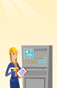 Woman working on control panel. Worker in hard hat pressing button at control panel. Engineer with clipboard standing in front of the control panel. Vector flat design illustration. Vertical layout.