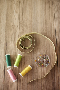 Wooden table and sewing items