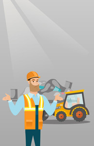 Worker of rubbish dump standing with spread arms. Man standing on the background of rubbish dump and bulldozer. Upset caucasian worker of rubbish dump. Vector flat design illustration. Vertical layout