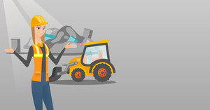 Worker of rubbish dump standing with spread arms. Woman standing on the background of rubbish dump and bulldozer. Caucasian worker of rubbish dump. Vector flat design illustration. Horizontal layout.