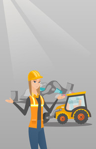 Worker of rubbish dump standing with spread arms. Woman standing on the background of rubbish dump and bulldozer. Caucasian worker of rubbish dump. Vector flat design illustration. Vertical layout.