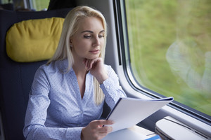 Working woman in the train