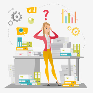 Worried caucasian business woman standing in front of office desk with many stacks of papers. Stressful business woman overloaded with work with papers. Vector flat design illustration. Square layout.