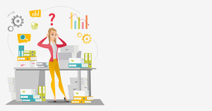 Worried caucasian business woman standing in front of office desk with stacks of papers. Stressful business woman overloaded with work with papers. Vector flat design illustration. Horizontal layout.