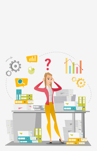 Worried caucasian business woman standing in front of office desk with stacks of papers. Stressful business woman overloaded with work with papers. Vector flat design illustration. Vertical layout.