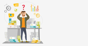 Worried caucasian businessman standing in front of office desk with many stacks of papers. Stressful businessman overloaded with work with papers. Vector flat design illustration. Horizontal layout.