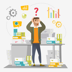 Worried caucasian businessman standing in front of office desk with many stacks of papers. Stressful businessman overloaded with work with papers. Vector flat design illustration. Square layout.