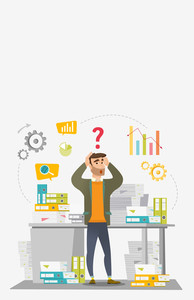 Worried caucasian businessman standing in front of office desk with many stacks of papers. Stressful businessman overloaded with work with papers. Vector flat design illustration. Vertical layout.