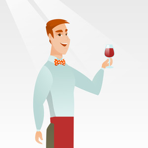 Young bartender holding a glass of wine in hand. Bartender at work. Waiter looking at a glass of red wine. Smiling bartender examining wine in a glass. Vector flat design illustration. Square layout.
