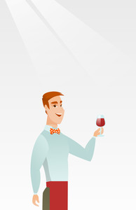 Young bartender holding a glass of wine in hand. Bartender at work. Waiter looking at a glass of red wine. Smiling bartender examining wine in glass. Vector flat design illustration. Vertical layout.