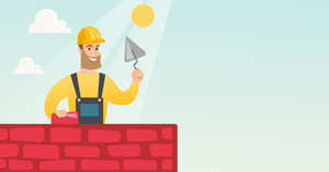 Young bricklayer in uniform and hard hat. Caucasian bicklayer working with spatula and brick on construction site. Bricklayer building a brick wall. Vector flat design illustration. Horizontal layout.