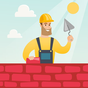 Young bricklayer in uniform and hard hat. Caucasian bicklayer working with spatula and brick on construction site. Bricklayer building a brick wall. Vector flat design illustration. Square layout.