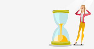 Young business woman looking at hourglass symbolizing deadline. Business woman worrying about deadline terms. Time management and deadline concept. Vector flat design illustration. Horizontal layout.