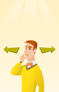 Young businessman thinking about solution of business problem. Businessman with two arrows symbolizing business solution. Business solution concept. Vector flat design illustration. Vertical layout.