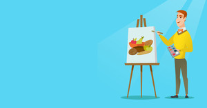 Young caucasian artist drawing a still life on canvas. Creative smiling male artist drawing on an easel. Cheerful artist working on a painting. Vector flat design illustration. Horizontal layout.