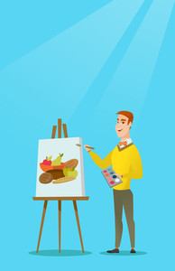 Young caucasian artist drawing a still life on canvas. Creative smiling male artist drawing on an easel. Cheerful artist working on a painting. Vector flat design illustration. Vertical layout.