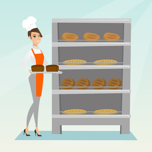 Young caucasian baker holding a tray with bread in a bakery. Confident female baker standing near the bread rack. Smiling baker holding a baking tray. Vector flat design illustration. Square layout.