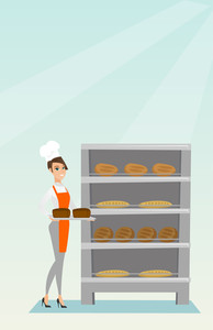 Young caucasian baker holding a tray with bread in a bakery. Confident female baker standing near the bread rack. Smiling baker holding a baking tray. Vector flat design illustration. Vertical layout.