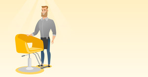Young caucasian barber standing near armchair. Full length of professional hipster barber with beard standing at workplace. Friendly barber at work. Vector flat design illustration. Horizontal layout.