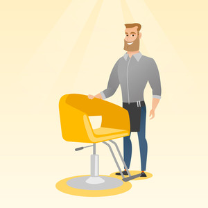 Young caucasian barber standing near armchair. Full length of professional hipster barber with beard standing at workplace. Friendly barber at work. Vector flat design illustration. Square layout.
