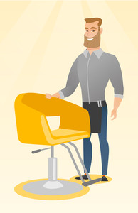 Young caucasian barber standing near armchair. Full length of professional hipster barber with beard standing at workplace. Friendly barber at work. Vector flat design illustration. Vertical layout.
