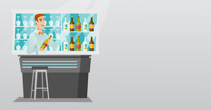 Young caucasian bartender standing at the bar counter with a bottle of alcoholic drink. Bartender holding a bottle of alcoholic drink in hands. Vector flat design illustration. Horizontal layout.