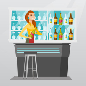 Young caucasian bartender standing at the bar counter with a bottle of alcoholic drink. Cheerful bartender holding a bottle of alcoholic drink in hands. Vector flat design illustration. Square layout.