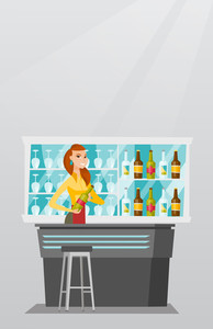 Young caucasian bartender standing at the bar counter with a bottle of alcoholic drink. Smiling bartender holding a bottle of alcoholic drink in hands. Vector flat design illustration. Vertical layout