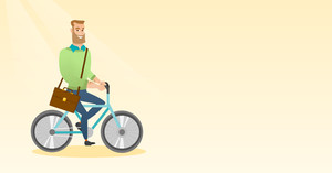 Young caucasian business man riding a bicycle. Man riding to work on a bicycle. Business man with briefcase on a bicycle. Healthy lifestyle concept. Vector flat design illustration. Horizontal layout.