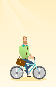 Young caucasian business man riding a bicycle. Man riding to work on a bicycle. Business man with briefcase on a bicycle. Healthy lifestyle concept. Vector flat design illustration. Vertical layout.
