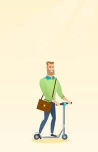 Young caucasian business man riding a kick scooter. Business man with briefcase riding to work on kick scooter. Hipster business man on kick scooter. Vector flat design illustration. Vertical layout.