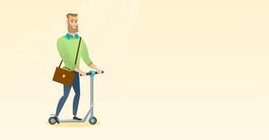 Young caucasian business man riding a kick scooter. Business man with briefcase riding to work on kick scooter. Hipster businessman on kick scooter. Vector flat design illustration. Horizontal layout.