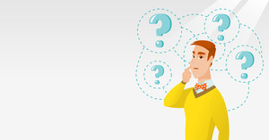 Young caucasian business man thinking. Thinking business man standing under question marks. Thinking business man surrounded by question marks. Vector flat design illustration. Horizontal layout.