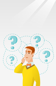 Young caucasian business man thinking. Thinking business man standing under question marks. Thinking business man surrounded by question marks. Vector flat design illustration. Vertical layout.