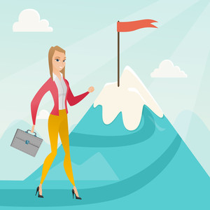 Young caucasian business woman climbing on the peak of mountain with the flag symbolizing business motivation. Business motivation concept. Vector flat design illustration. Square layout.