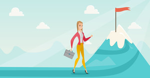 Young caucasian business woman climbing on the peak of mountain with the red flag symbolizing business motivation. Business motivation concept. Vector flat design illustration. Horizontal layout.