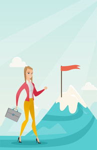 Young caucasian business woman climbing on the peak of mountain with the red flag symbolizing business motivation. Concept of business motivation. Vector flat design illustration. Vertical layout.