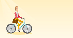 Young caucasian business woman riding a bicycle. Cyclist riding a bicycle. Business woman with briefcase on a bicycle. Healthy lifestyle concept. Vector flat design illustration. Horizontal layout.