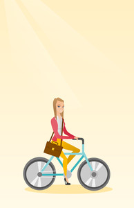 Young caucasian business woman riding a bicycle. Cyclist riding a bicycle. Business woman with briefcase on a bicycle. Healthy lifestyle concept. Vector flat design illustration. Vertical layout.