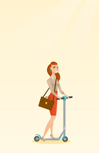 Young caucasian business woman riding a kick scooter. Business woman with briefcase riding to work on kick scooter. Business woman on a kick scooter. Vector flat design illustration. Vertical layout.