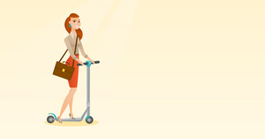 Young caucasian business woman riding a kick scooter. Business woman with briefcase riding to work on kick scooter. Business woman on kick scooter. Vector flat design illustration. Horizontal layout.