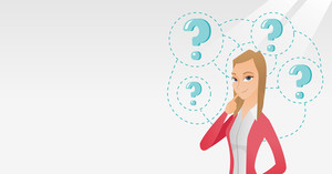 Young caucasian business woman thinking. Thinking business woman standing under question marks. Thinking business woman surrounded by question marks. Vector flat design illustration. Horizontal layout
