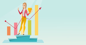Young caucasian businesswoman with business award standing on a pedestal. Cheerful businesswoman celebrating business award. Business award concept. Vector flat design illustration. Horizontal layout.