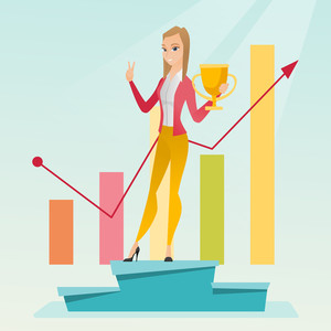 Young caucasian businesswoman with business award standing on a pedestal. Cheerful businesswoman celebrating her business award. Business award concept. Vector flat design illustration. Square layout.